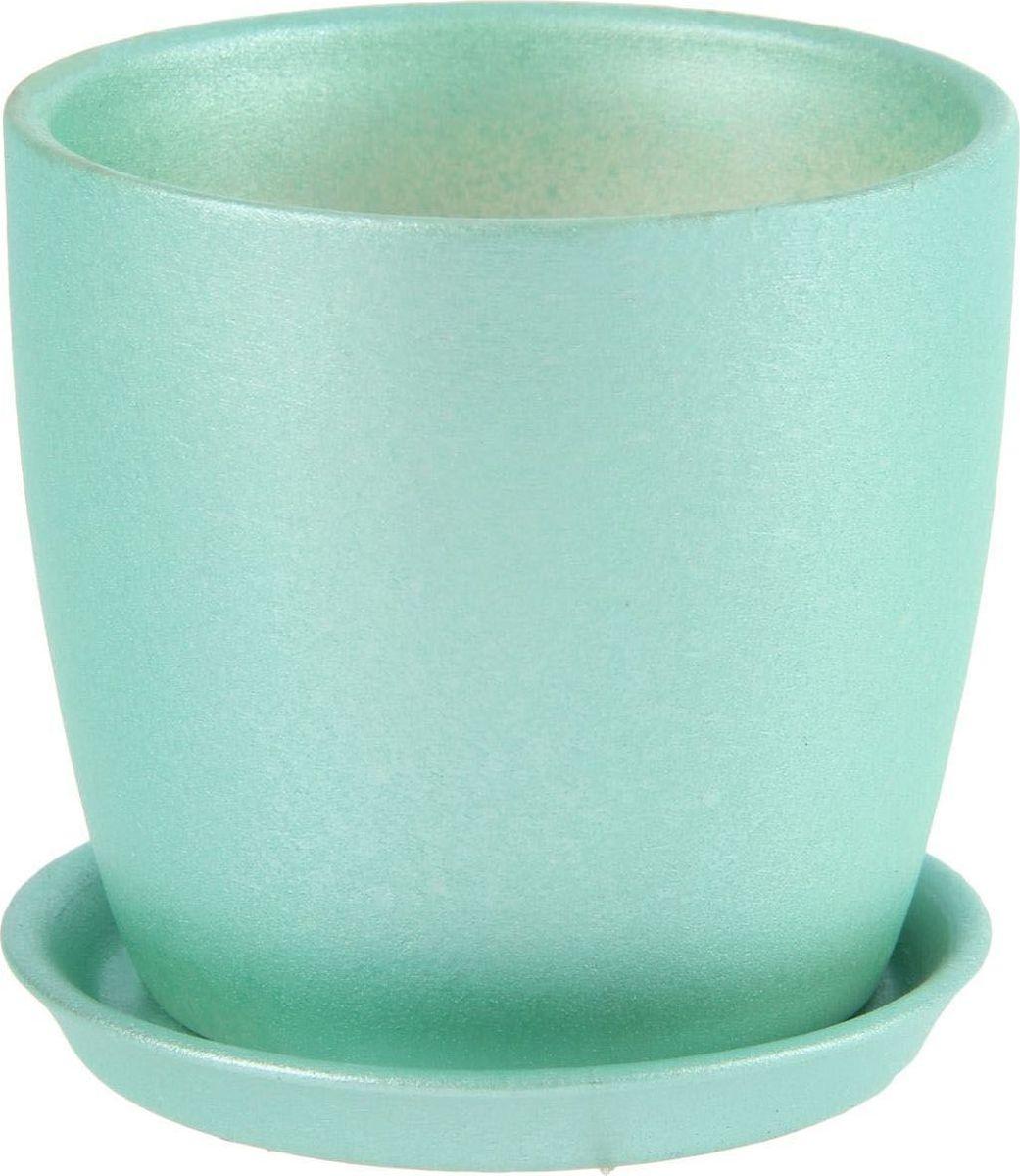 Кашпо Керамика ручной работы Осень. Перламутр, цвет: зеленый, 0,5 л1144913Комнатные растения - всеобщие любимцы. Они радуют глаз, насыщают помещение кислородом и украшают пространство. Каждому из них необходим свой удобный и красивый дом. Кашпо из керамики прекрасно подходят для высадки растений: за счет пластичности глины и разных способов обработки существует великое множество форм и дизайнов. Пористый материал позволяет испаряться лишней влаге воздух, необходимый для дыхания корней.