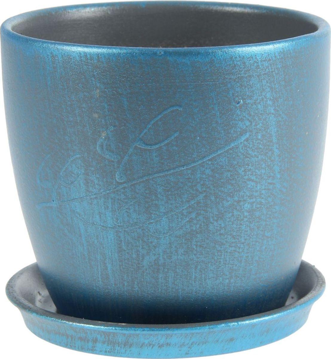 Кашпо Керамика ручной работы Осень. Патина, цвет: синий, 1 л1144937Комнатные растения — всеобщие любимцы. Они радуют глаз, насыщают помещение кислородом и украшают пространство. Каждому из них необходим свой удобный и красивый дом. Кашпо из керамики прекрасно подходят для высадки растений: за счёт пластичности глины и разных способов обработки существует великое множество форм и дизайновпористый материал позволяет испаряться лишней влагевоздух, необходимый для дыхания корней, проникает сквозь керамические стенки! #name# позаботится о зелёном питомце, освежит интерьер и подчеркнёт его стиль.