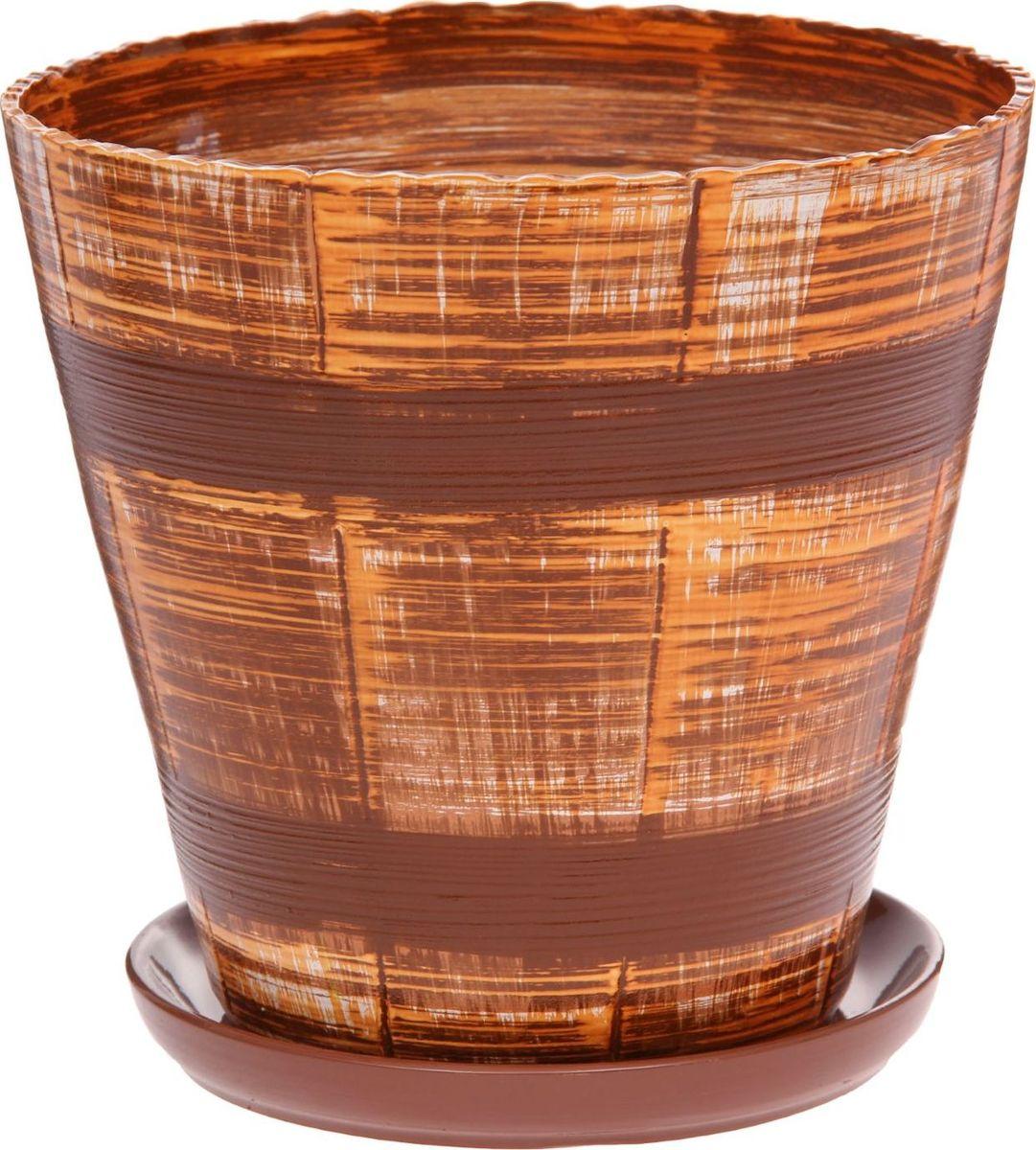 Кашпо Мари. Полосы, цвет: коричневый, 6,9 л1147364Комнатные растения — всеобщие любимцы. Они радуют глаз, насыщают помещение кислородом и украшают пространство. Каждому из них необходим свой удобный и красивый дом. Кашпо из керамики прекрасно подходят для высадки растений: за счёт пластичности глины и разных способов обработки существует великое множество форм и дизайновпористый материал позволяет испаряться лишней влагевоздух, необходимый для дыхания корней, проникает сквозь керамические стенки! #name# позаботится о зелёном питомце, освежит интерьер и подчеркнёт его стиль.