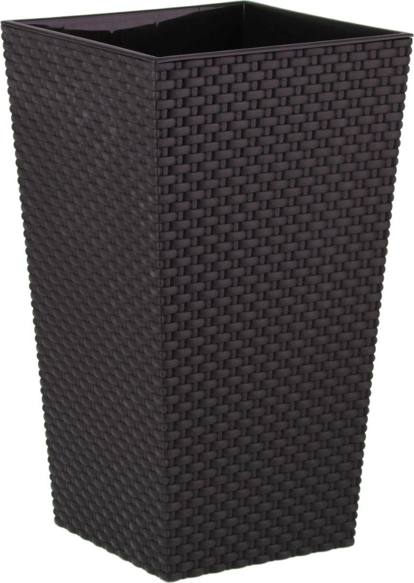 Кашпо Idea Ротанг, цвет: коричневый, 19,8 х 19,8 х 36 см