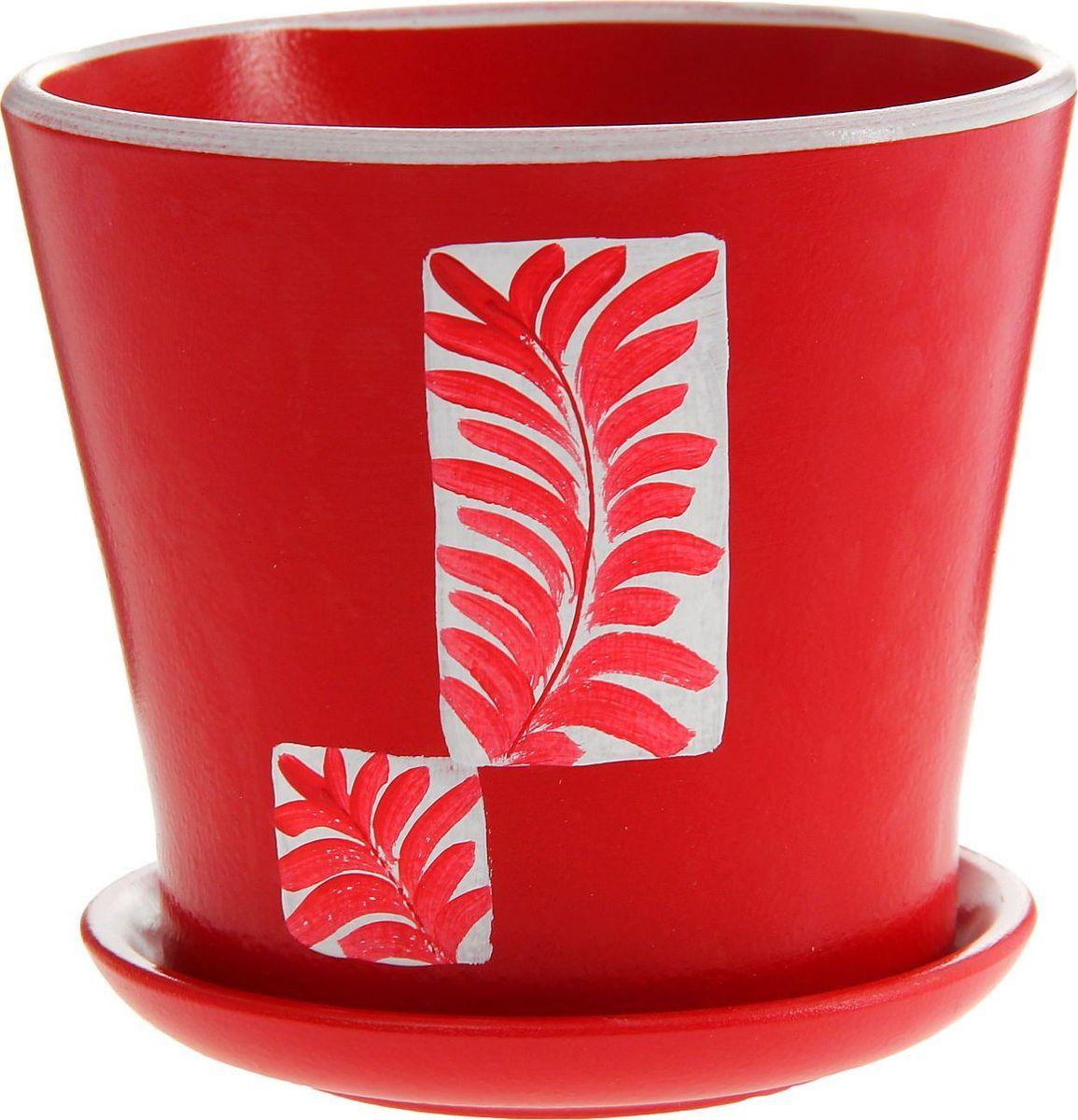 Кашпо Папоротник, цвет: красный, 1 л1157254