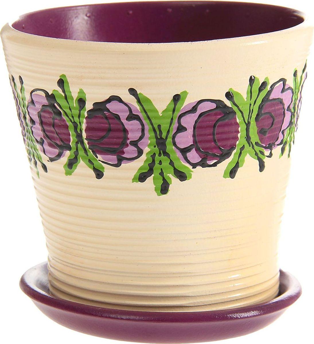 Кашпо Фиолетовые цветы, 0,5 л1157266