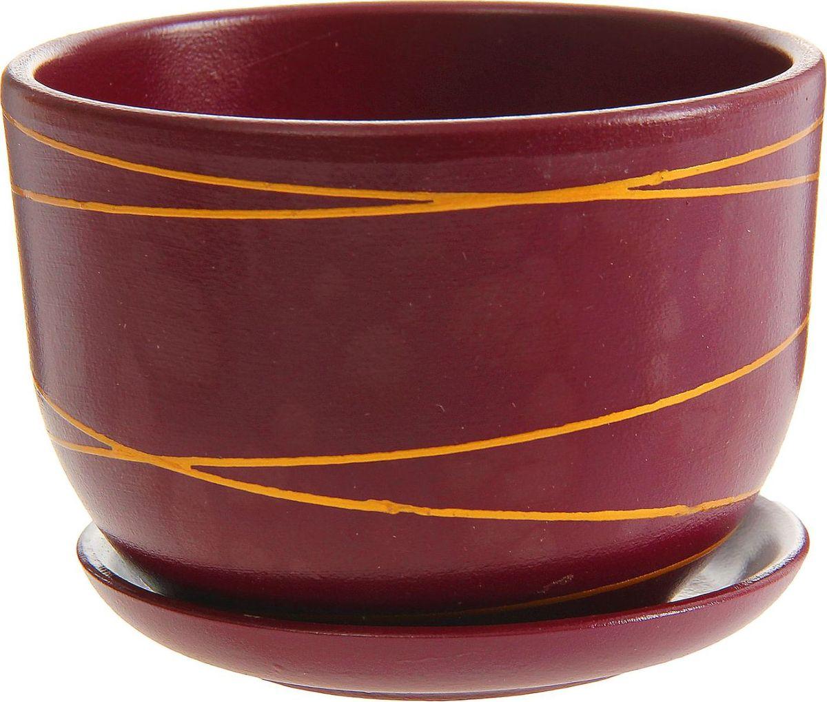 Кашпо Контраст, цвет: бордовый, оранжевый, 1,05 л1157272Комнатные растения — всеобщие любимцы. Они радуют глаз, насыщают помещение кислородом и украшают пространство. Каждому из них необходим свой удобный и красивый дом. Кашпо из керамики прекрасно подходят для высадки растений: за счёт пластичности глины и разных способов обработки существует великое множество форм и дизайновпористый материал позволяет испаряться лишней влагевоздух, необходимый для дыхания корней, проникает сквозь керамические стенки! #name# позаботится о зелёном питомце, освежит интерьер и подчеркнёт его стиль.