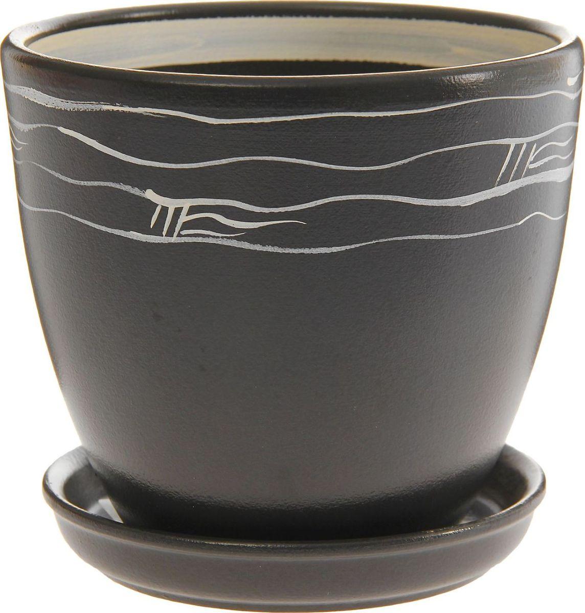 Кашпо Август. Полосы, цвет: черный, белый, 2,4 л1157417