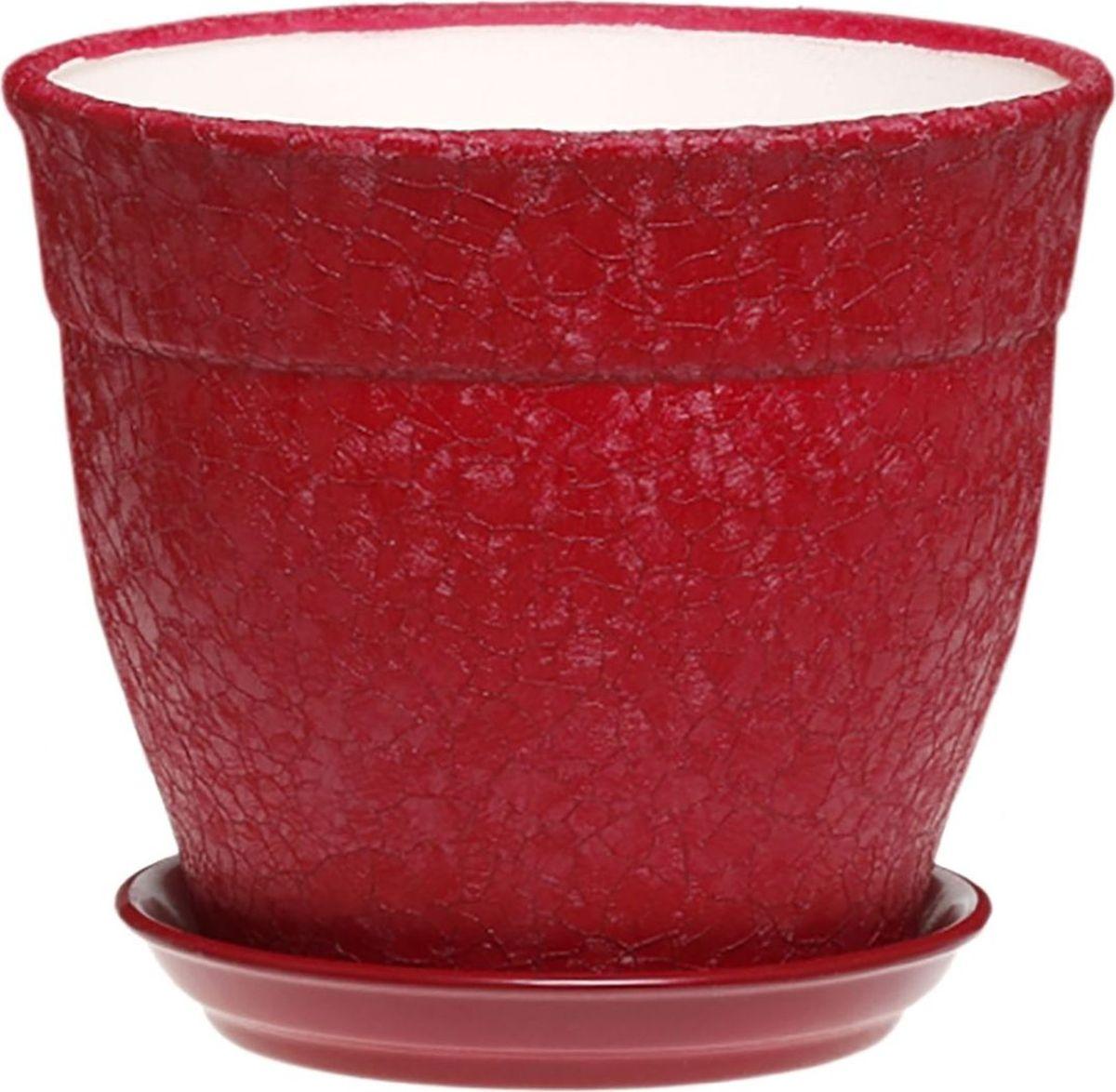 """Кашпо Керамика ручной работы """"Флорис"""", цвет: бордовый, 3,5 л"""