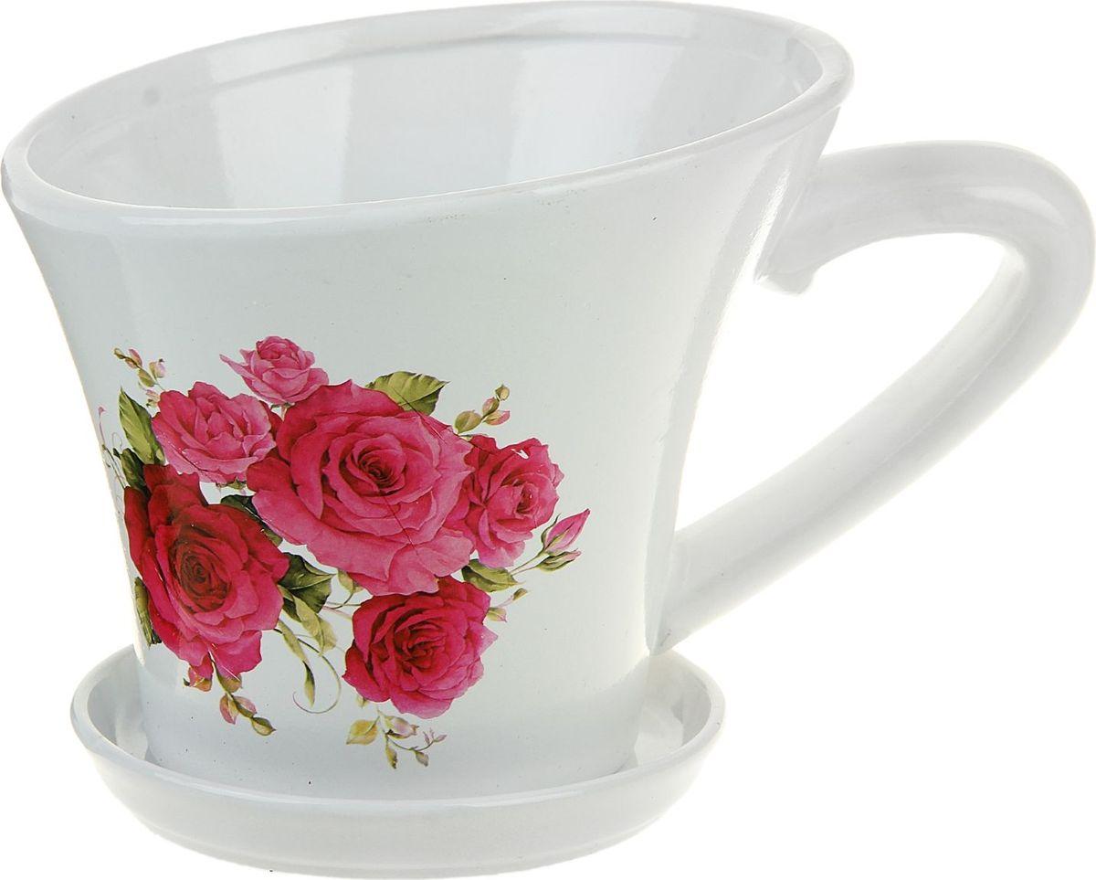 Кашпо Чашка. Розы, цвет: белый, 1 л135949Декоративное кашпо, выполненное из высококачественной керамики, предназначено для посадки декоративных растений и станет прекрасным украшением для дома. Пористый материал позволяет испаряться лишней влаге, а воздух, необходимый для дыхания корней, проникает сквозь керамические стенки. Такое кашпо украсит окружающее пространство и подчеркнет его оригинальный стиль.