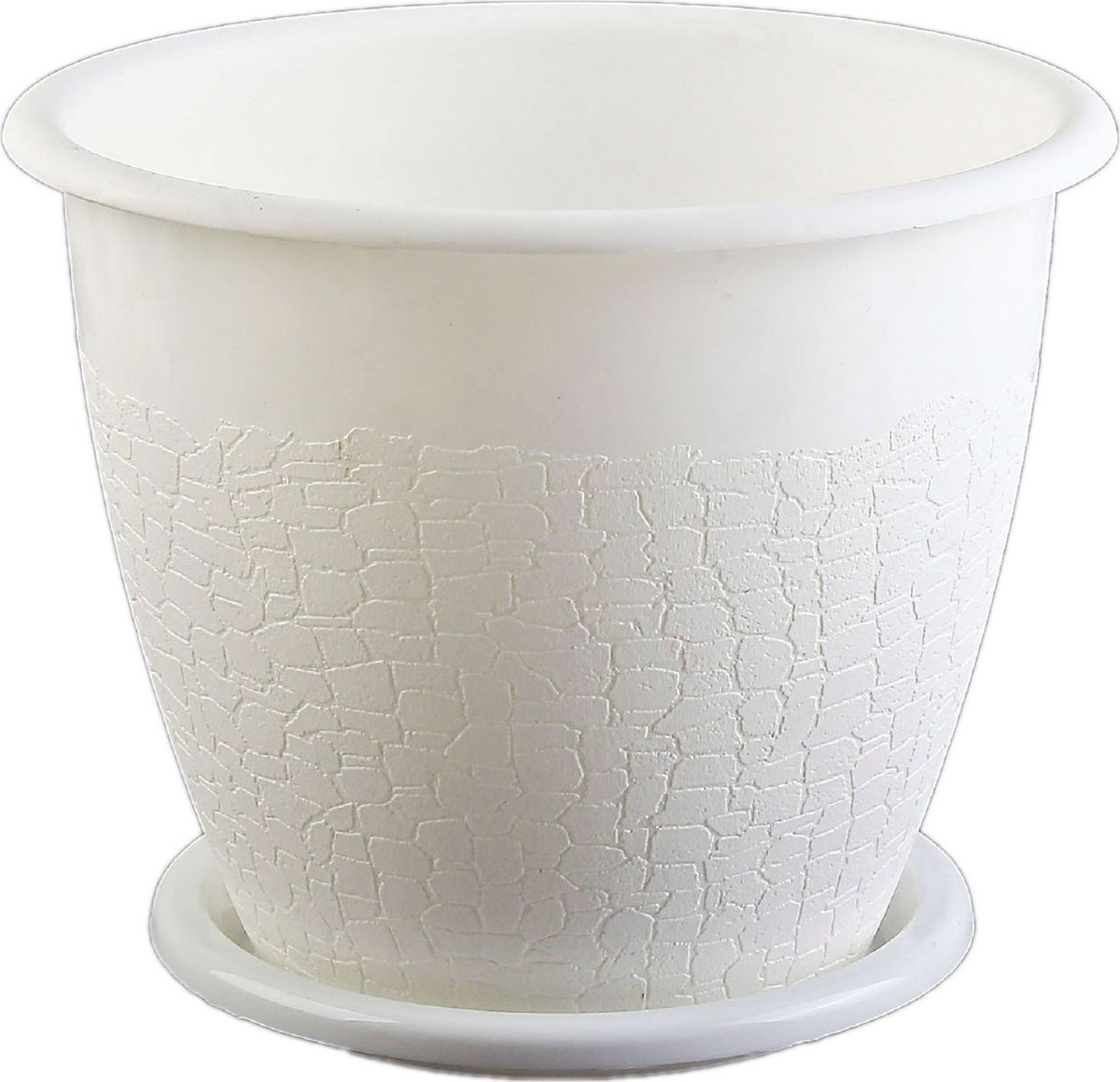 Горшок для цветов Альтернатива Розалия, с поддоном, цвет: белый, 3,2 л577760Любой, даже самый современный и продуманный интерьер будет не завершённым без растений. Они не только очищают воздух и насыщают его кислородом, но и заметно украшают окружающее пространство. Такому полезному &laquo члену семьи&raquoпросто необходимо красивое и функциональное кашпо, оригинальный горшок или необычная ваза! Мы предлагаем - Горшок для цветов Розалия 3,2 л, поддон, белый!Оптимальный выбор материала &mdash &nbsp пластмасса! Почему мы так считаем? Малый вес. С лёгкостью переносите горшки и кашпо с места на место, ставьте их на столики или полки, подвешивайте под потолок, не беспокоясь о нагрузке. Простота ухода. Пластиковые изделия не нуждаются в специальных условиях хранения. Их&nbsp легко чистить &mdashдостаточно просто сполоснуть тёплой водой. Никаких царапин. Пластиковые кашпо не царапают и не загрязняют поверхности, на которых стоят. Пластик дольше хранит влагу, а значит &mdashрастение реже нуждается в поливе. Пластмасса не пропускает воздух &mdashкорневой системе растения не грозят резкие перепады температур. Огромный выбор форм, декора и расцветок &mdashвы без труда подберёте что-то, что идеально впишется в уже существующий интерьер.Соблюдая нехитрые правила ухода, вы можете заметно продлить срок службы горшков, вазонов и кашпо из пластика: всегда учитывайте размер кроны и корневой системы растения (при разрастании большое растение способно повредить маленький горшок)берегите изделие от воздействия прямых солнечных лучей, чтобы кашпо и горшки не выцветалидержите кашпо и горшки из пластика подальше от нагревающихся поверхностей.Создавайте прекрасные цветочные композиции, выращивайте рассаду или необычные растения, а низкие цены позволят вам не ограничивать себя в выборе.
