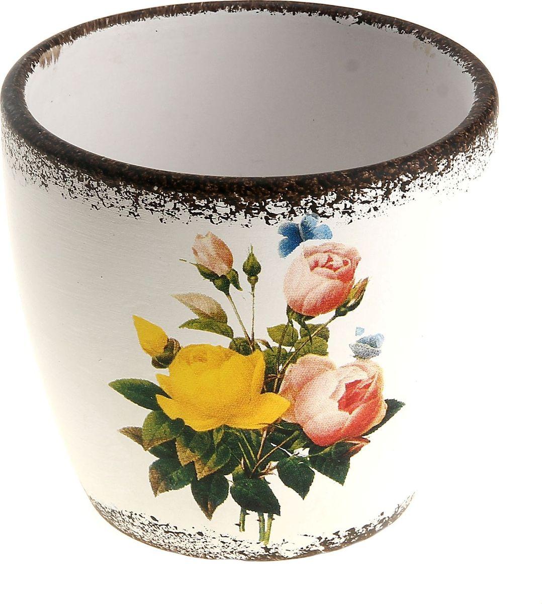 Кашпо Розы, 7 х 10 х 9 см829700Комнатные растения — всеобщие любимцы. Они радуют глаз, насыщают помещение кислородом и украшают пространство. Каждому из них необходим свой удобный и красивый дом. Кашпо из керамики прекрасно подходят для высадки растений: за счет пластичности глины и разных способов обработки существует великое множество форм и дизайнов пористый материал позволяет испаряться лишней влаге воздух, необходимый для дыхания корней, проникает сквозь керамические стенки! Позаботится о зеленом питомце, освежит интерьер и подчеркнет его стиль.