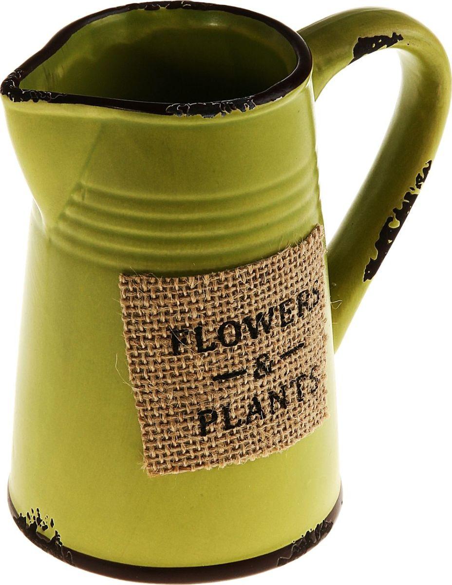 Кашпо Простота, цвет: зеленый, 7 х 13 х 14 см829894Комнатные растения — всеобщие любимцы. Они радуют глаз, насыщают помещение кислородом и украшают пространство. Каждому из них необходим свой удобный и красивый дом. Кашпо из керамики прекрасно подходят для высадки растений: за счёт пластичности глины и разных способов обработки существует великое множество форм и дизайновпористый материал позволяет испаряться лишней влагевоздух, необходимый для дыхания корней, проникает сквозь керамические стенки! #name# позаботится о зелёном питомце, освежит интерьер и подчеркнёт его стиль.