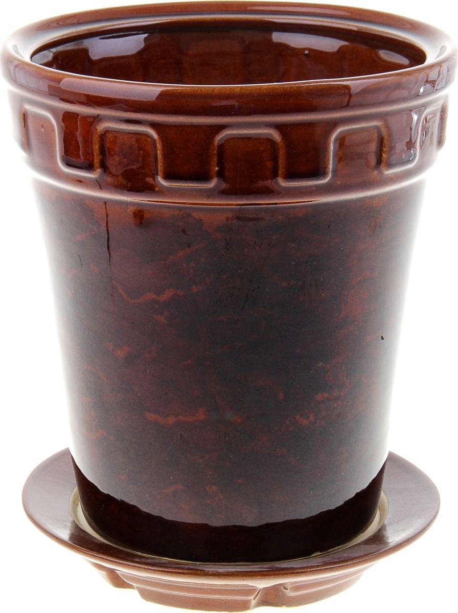 Кашпо Альфа, цвет: коричневый, 3,6 л838513Комнатные растения — всеобщие любимцы. Они радуют глаз, насыщают помещение кислородом и украшают пространство. Каждому из них необходим свой удобный и красивый дом. Кашпо из керамики прекрасно подходят для высадки растений: за счёт пластичности глины и разных способов обработки существует великое множество форм и дизайновпористый материал позволяет испаряться лишней влагевоздух, необходимый для дыхания корней, проникает сквозь керамические стенки! #name# позаботится о зелёном питомце, освежит интерьер и подчеркнёт его стиль.