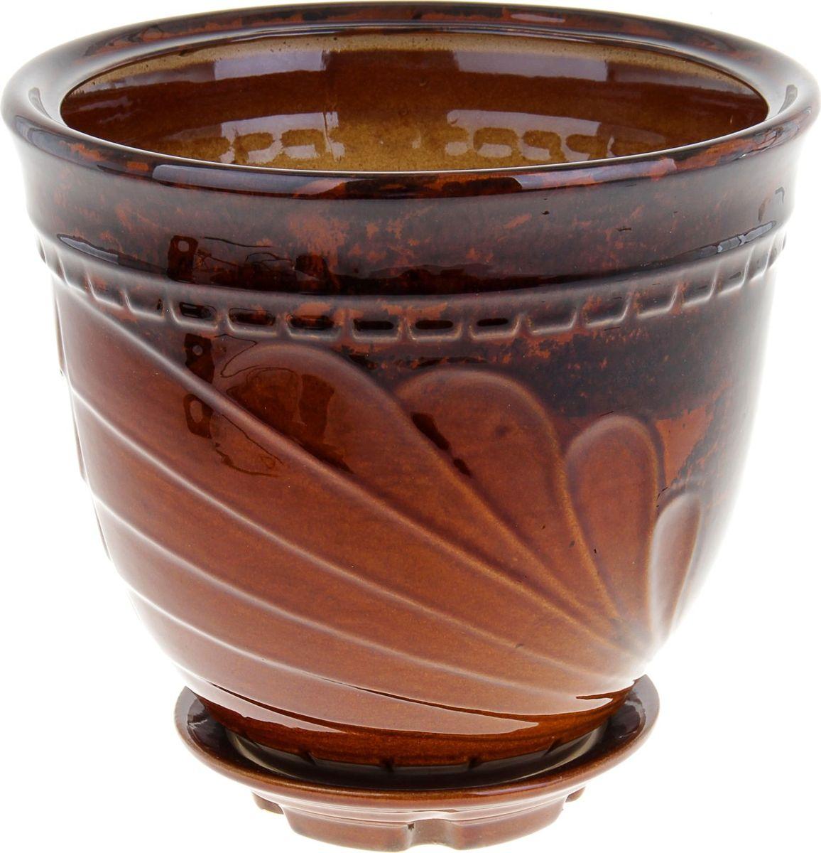 Кашпо Ландыш, цвет: коричневый, 6,9 л838589Комнатные растения — всеобщие любимцы. Они радуют глаз, насыщают помещение кислородом и украшают пространство. Каждому из них необходим свой удобный и красивый дом. Кашпо из керамики прекрасно подходят для высадки растений: за счёт пластичности глины и разных способов обработки существует великое множество форм и дизайновпористый материал позволяет испаряться лишней влагевоздух, необходимый для дыхания корней, проникает сквозь керамические стенки! #name# позаботится о зелёном питомце, освежит интерьер и подчеркнёт его стиль.