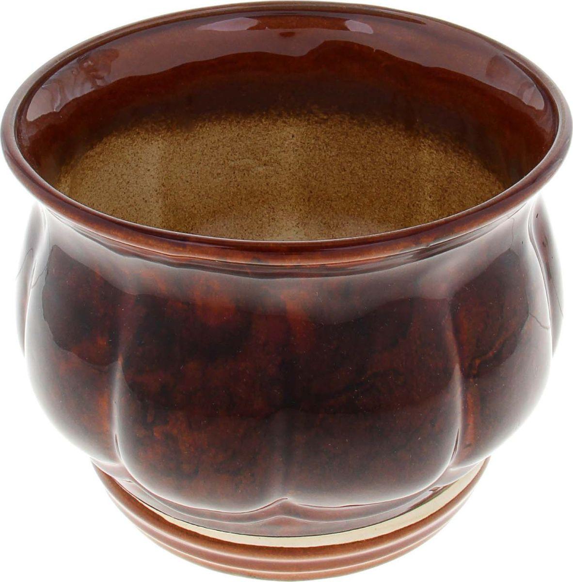 Кашпо Лепестки, цвет: коричневый, 2,2 л838622