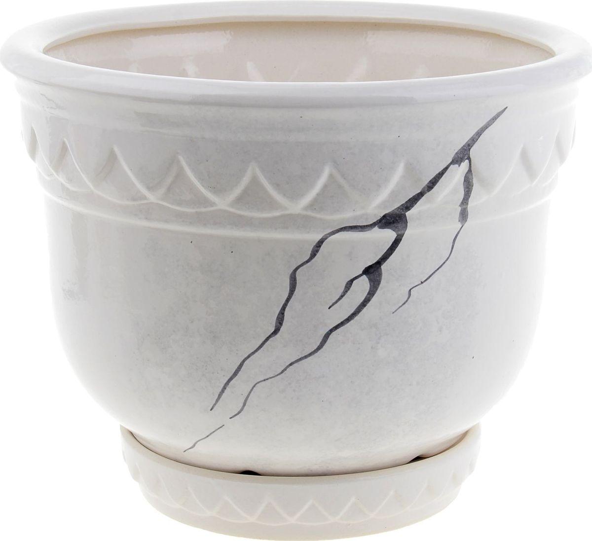Кашпо Бриз, цвет: белый, 4 л840473Комнатные растения — всеобщие любимцы. Они радуют глаз, насыщают помещение кислородом и украшают пространство. Каждому из них необходим свой удобный и красивый дом. Кашпо из керамики прекрасно подходят для высадки растений: за счёт пластичности глины и разных способов обработки существует великое множество форм и дизайновпористый материал позволяет испаряться лишней влагевоздух, необходимый для дыхания корней, проникает сквозь керамические стенки! #name# позаботится о зелёном питомце, освежит интерьер и подчеркнёт его стиль.