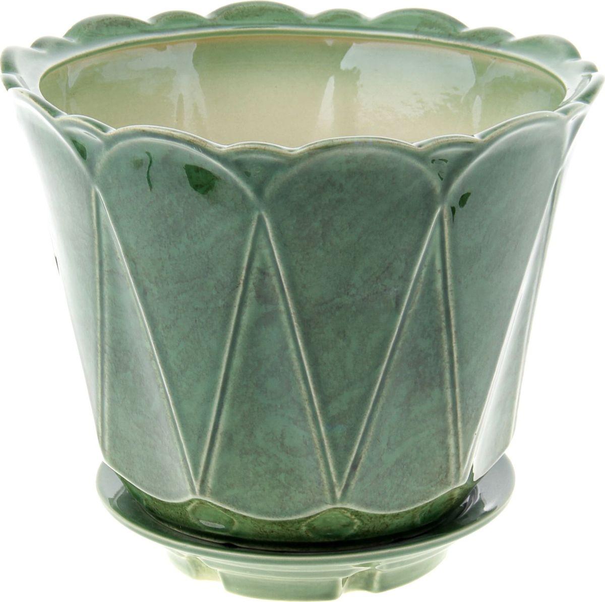 Кашпо Берта, цвет: зеленый, 6,5 л840528Комнатные растения — всеобщие любимцы. Они радуют глаз, насыщают помещение кислородом и украшают пространство. Каждому из них необходим свой удобный и красивый дом. Кашпо из керамики прекрасно подходят для высадки растений: за счёт пластичности глины и разных способов обработки существует великое множество форм и дизайновпористый материал позволяет испаряться лишней влагевоздух, необходимый для дыхания корней, проникает сквозь керамические стенки! #name# позаботится о зелёном питомце, освежит интерьер и подчеркнёт его стиль.