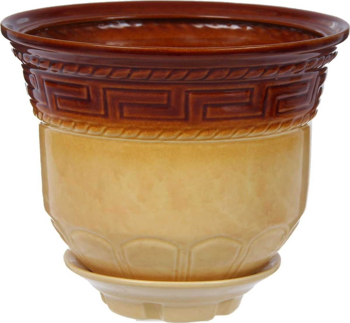 Кашпо Греция, цвет: коричневый, 3 л840716Комнатные растения — всеобщие любимцы. Они радуют глаз, насыщают помещение кислородом и украшают пространство. Каждому из них необходим свой удобный и красивый дом. Кашпо из керамики прекрасно подходят для высадки растений: за счёт пластичности глины и разных способов обработки существует великое множество форм и дизайновпористый материал позволяет испаряться лишней влагевоздух, необходимый для дыхания корней, проникает сквозь керамические стенки! #name# позаботится о зелёном питомце, освежит интерьер и подчеркнёт его стиль.