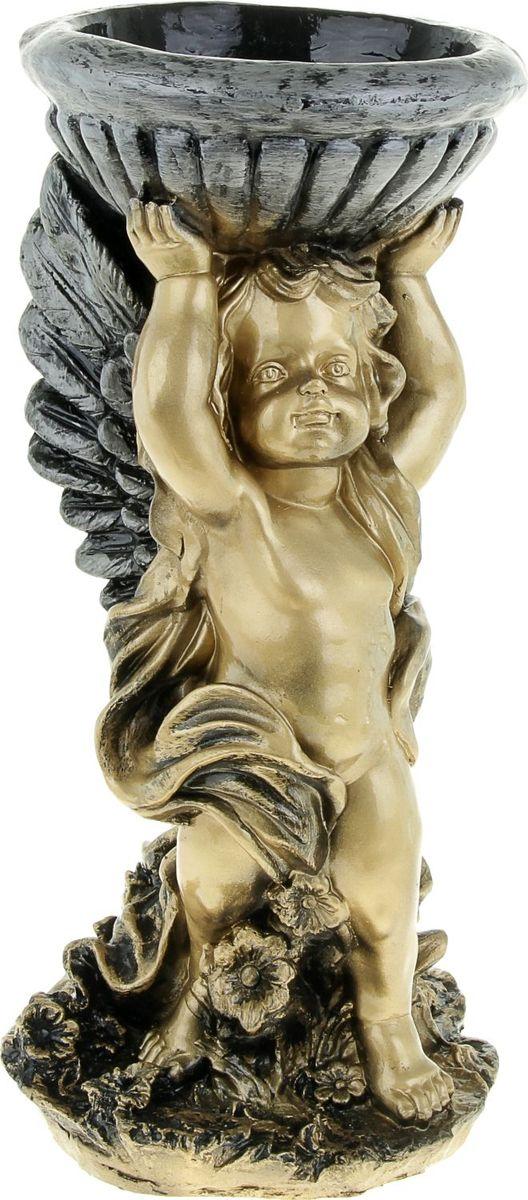 Кашпо Ангел с чашей, цвет: бронзовый, 24 х 24 х 51,5 см842893