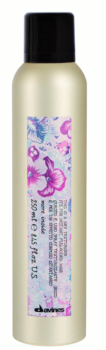 Davines More Inside Dry Texturizer Сухой текстуризатор для моментального объема волос, 250 мл87056Текстуризатор сухой представляет собой спрей со средней степенью фиксации волос. Средство мгновенно увеличивает объем волос, придавая им эффект растрепавшихся на сильном ветру локонов. При этом в результате получается воздушная и чувственная укладка. Спрей не утяжеляет волосы, не склеивает их. Волосы приобретают текстуру и плотность. Идеальное средство для тонких необъемных волос. Так же, отлично смотрится на длинных и средней длины волосах. Применяется как для прикорневого объема, так и для нанесения по всей длине волос.Спрей текстуризатор позволяет быстро сделать форму прически без мытья головы. Объем: 250 мл