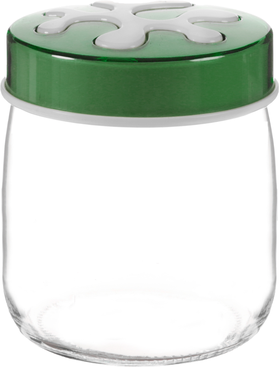 """Банка для сыпучих продуктов """"Herevin"""" выполнена из высококачественного прочного стекла. Изделие снабжено плотно закручивающейся пластиковой крышкой с рисунком. Прозрачные стенки позволяют видеть содержимое. Такая банка отлично подойдет для хранения различных сыпучих продуктов: орехов, сухофруктов, чая, кофе, специй. Диаметр банки: 9 см. Высота банки: 10 см."""