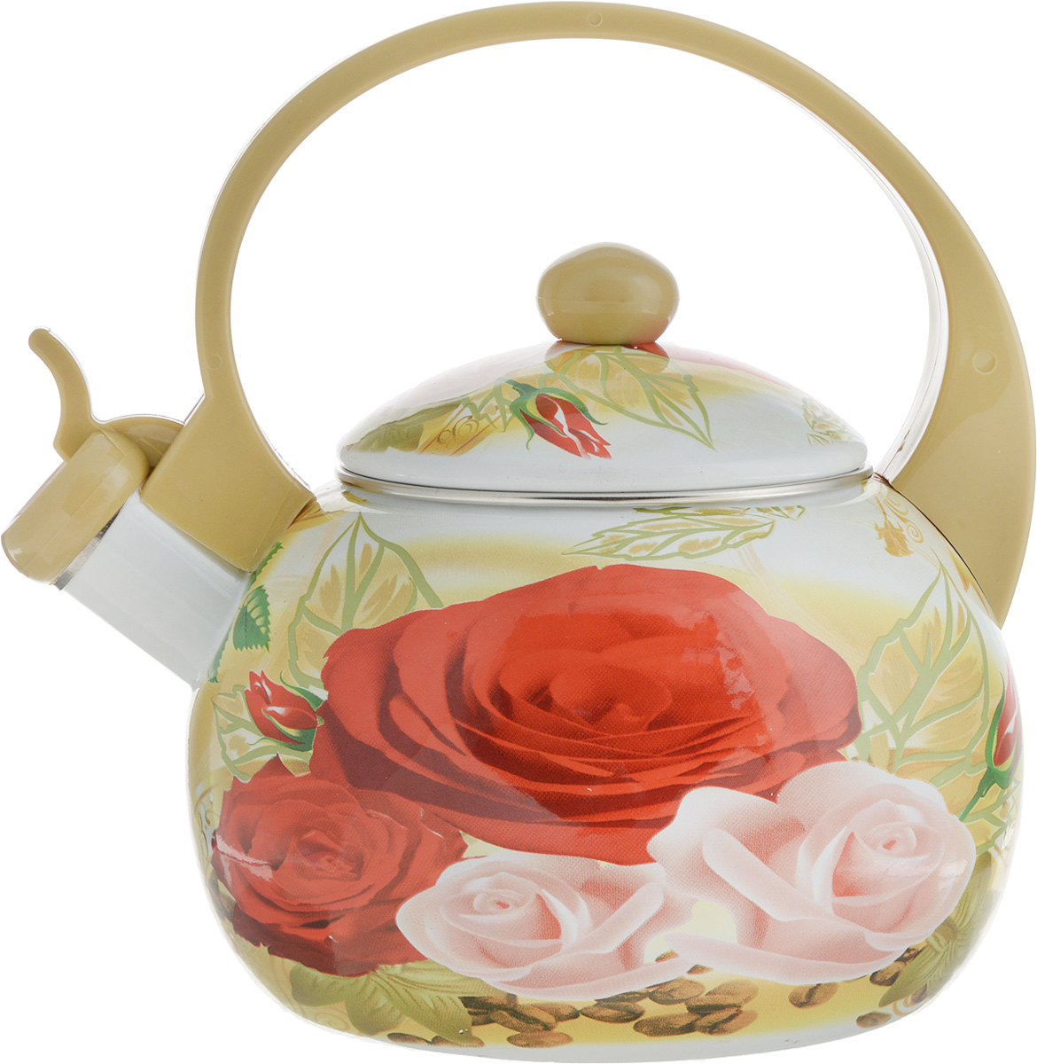 """Чайник """"Bohmann"""" изготовлен из эмалированной стали с цветочным принтом. Прочность, надежность, стойкость к кислотам и привлекательный внешний вид - основные свойства этого материала.Прочная ручка, выполненная из термостойкого пластика, обеспечивает комфортную эксплуатацию.Носик чайника оборудован свистком, который громким сигналом оповестит о закипании воды.Чайник подходит для всех видов плит, а также индукционных.Изделие можно мыть в посудомоечной машине. Объем: 2,5 см.Диаметр (по верхнему краю): 11 см. Диаметр основания: 14 см. Высота чайника (без учета ручки и крышки): 11,5 см."""