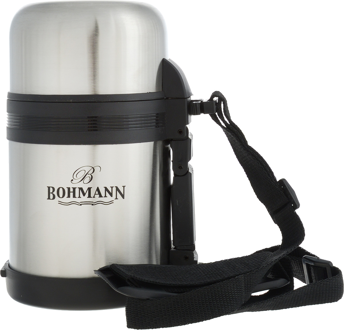 Термос Bohmann, цвет: стальной, черный, 0,6 л4206BH/12Дорожный термос Bohmann выполнен из нержавеющей стали с матовой полировкой. Двойные стенки сохраняют температуру напитков длительное время. Внутренняя колба выполнена из высококачественной нержавеющей стали. Термос снабжен плотно прилегающей закручивающейся пластиковой пробкой с нажимным клапаном и укомплектован теплоизолированной крышкой, которую можно использовать как чашку. Для того чтобы налить содержимое термоса нет необходимости откручивать пробку. Достаточно надавить на клапан, расположенный в центре.Изделие оснащено эргономичной ручкой и съемным ремнем для удобной переноски, который регулируется по длине.Удобный термос Bohmann станет незаменимым спутником в ваших поездках.Высота термоса (с учетом крышки): 18,5 см.Диаметр горлышка: 7,5 см.Диаметр чашки (по верхнему краю): 9,5 см.Высота чашки: 5,7 см.Ширина ремня: 2 см.