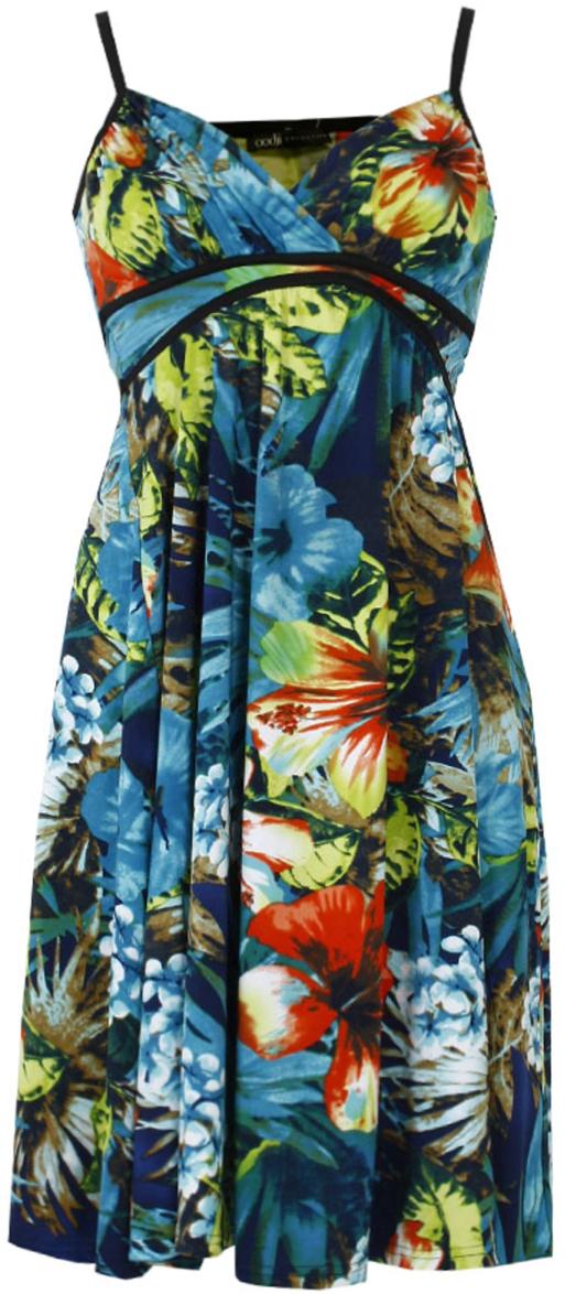Сарафан oodji Collection, цвет: синий, красный. 24016001/16300/396AF. Размер 40-164 (46-164) цены онлайн