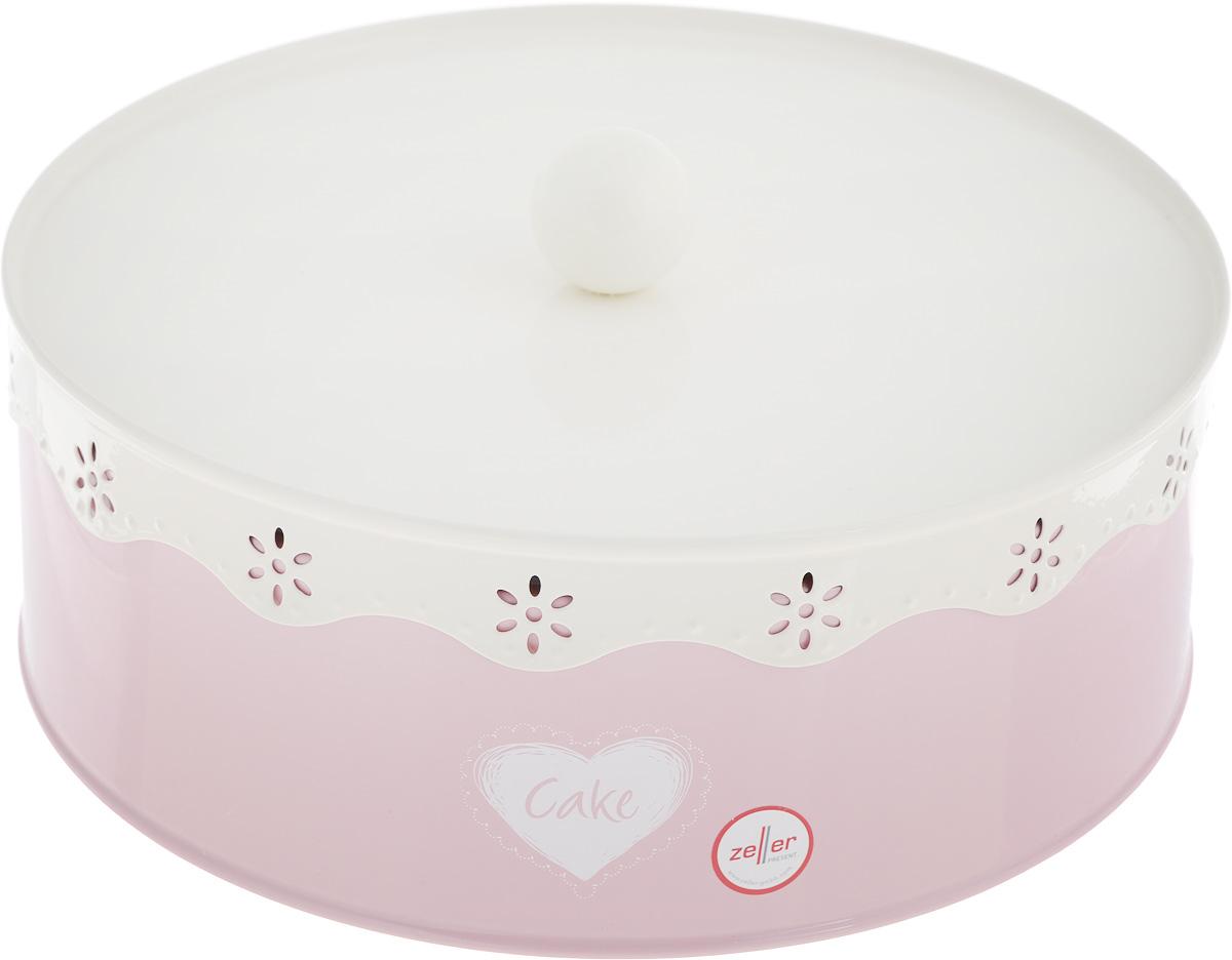 Банка для продуктов Zeller, цвет: розовый, белый, диаметр 21,5 см банка для продуктов zeller диаметр 22 см