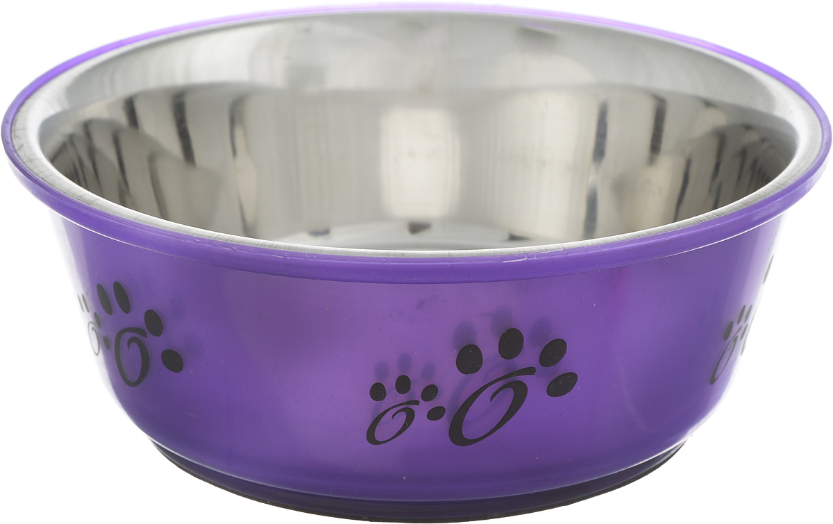Миска для собак Каскад, цвет: фиолетовый, стальной, 750 мл76800139_фиолетовыйМиска для собак Каскад, изготовленная из высококачественного пластика и нержавеющей стали, предназначена для корма и воды. Она порадует удобством использования как самих животных, так и их хозяев. Яркий дизайн придаст изделию индивидуальность и удовлетворит вкус самых взыскательных зоовладельцев. Основание миски снабжено нескользящей резиновой вставкой, благодаря которой она устойчива на любой поверхности. Объем: 750 мл. Диаметр миски (по верхнему краю): 17,5 см.Диаметр основания: 12,5 см. Высота миски: 7 см.