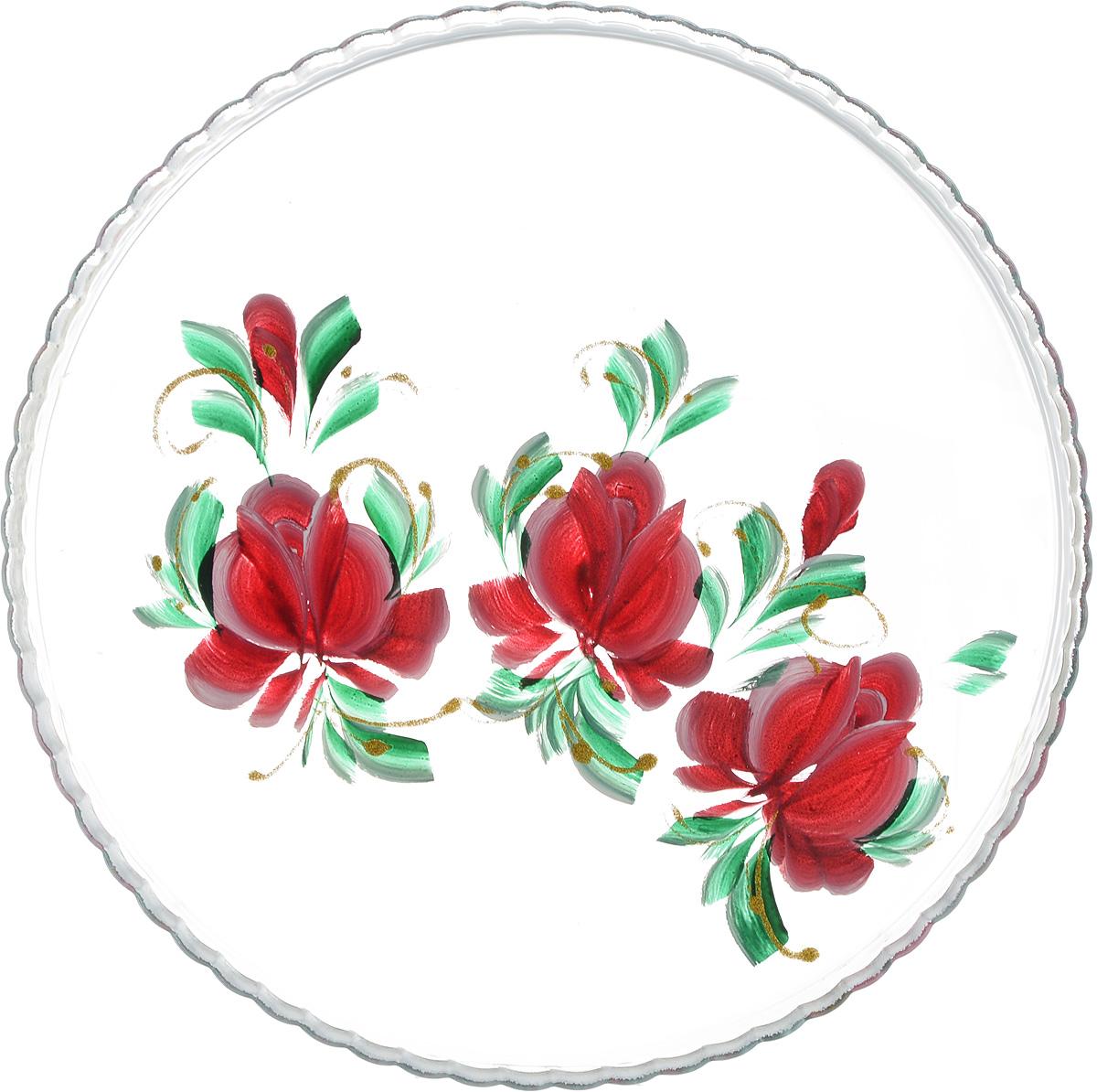 Блюдо Хрустальный звон Патиссэри, цвет: бордовый, зеленый, диаметр 28 см1193698_рис. 4Круглое блюдо Хрустальный звон Патиссэри выполнено из высококачественного стекла и дополнено красивым принтом с художественной росписью. Изделие отлично подходит для сервировки закусок, нарезок, канапе, горячих блюд и многого другого.Такое блюдо замечательно для торжественных случаев. Оно дополнит сервировку праздничного стола и подчеркнет ваш прекрасный вкус. Обращаем ваше внимание, что роспись на изделии сделана вручную. Рисунок может немного отличаться от изображения на фотографии. Диаметр блюда: 28 см.