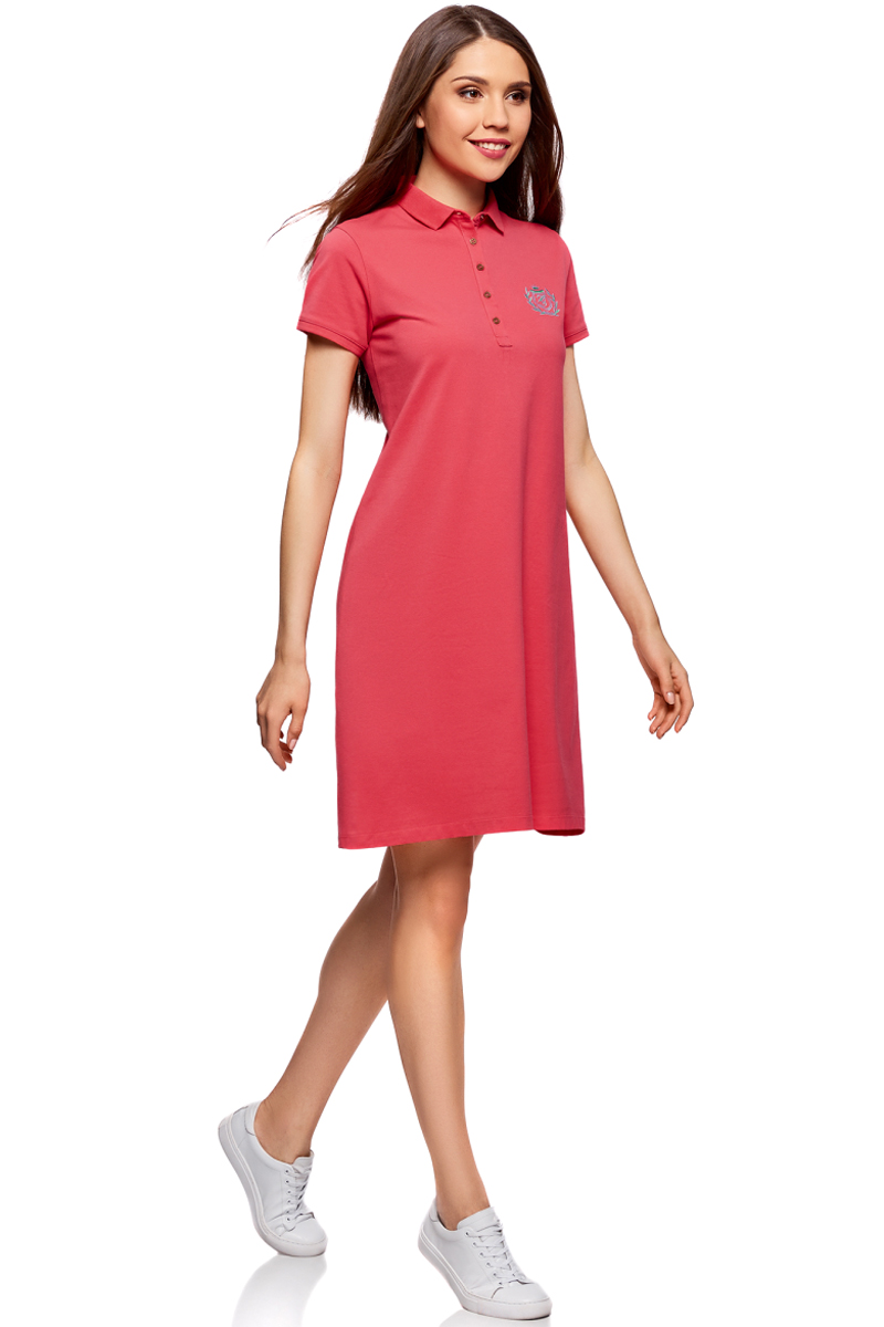 Платье oodji Collection, цвет: ярко-розовый. 24001118-1/47005/4D00N. Размер S (44)24001118-1/47005/4D00NПлатье-поло от oodji выполнено из ткани пике. Модель с короткими рукавами и отложным воротником на груди застегивается на пуговицы.
