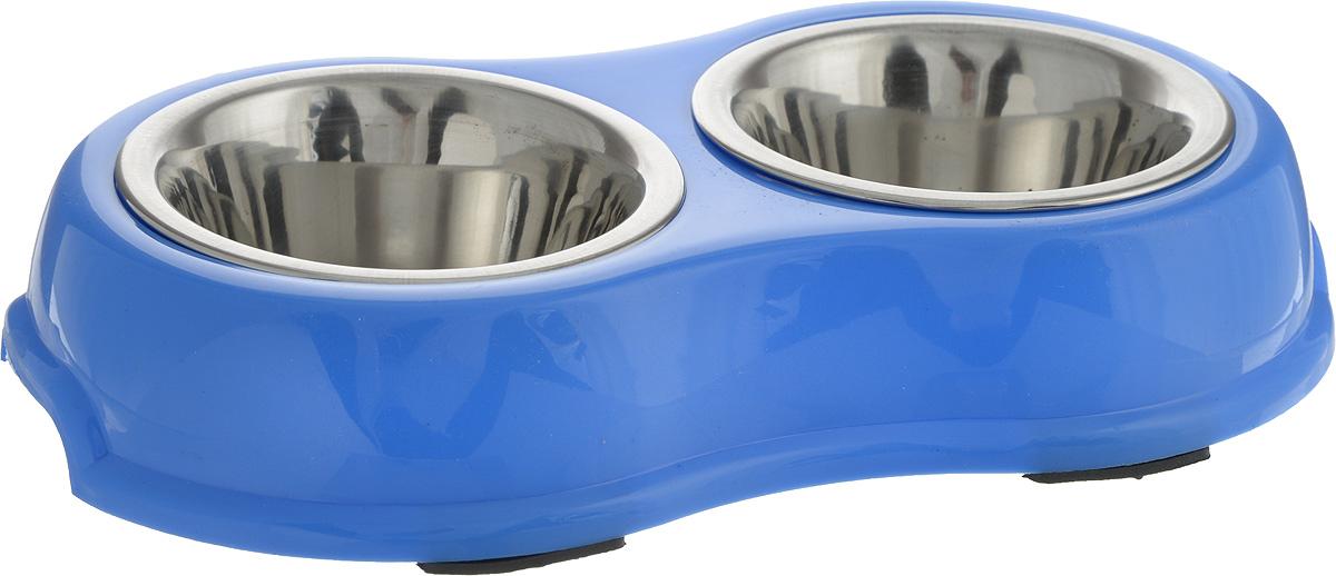 Миска для животных Каскад, двойная, на подставке, цвет: синий, стальной, 180 мл3163aДвойная миска Каскад - это функциональный аксессуар для собак, кошек.Изделие состоит из двух мисок, выполненных из высококачественной нержавеющей стали. Мискиразмещены на пластиковой подставке, оснащенной противоскользящими вставками. Яркийдизайн придаст изделию индивидуальность и удовлетворит вкус самых взыскательныхзоовладельцев. Объем одной миски: 180 мл.Диаметр одной миски (по верхнему краю): 11 см.Высота одной миски: 4,5 см.Размер подставки: 27,5 х 16 х 4,5 см.