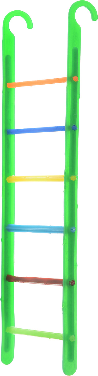 Лестница для птиц Каскад, 6 х 21 х 0,5 см33300519_зеленыйЛестница Каскад, выполненная из пластика, прекрасно подойдет для птиц. Она крепится на любые прутья клетки с помощью специальных крючков. Ваш питомец сможет вскарабкиваться по перекладинам, словно прыгая с одной веточки на другую. Такой аксессуар в клетке не даст скучать вашему питомцу.