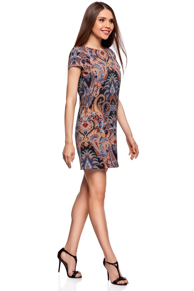 Платье oodji Collection, цвет: черный, оранжевый. 21901163-2M/45559/2955E. Размер 40-170 (46-170)21901163-2M/45559/2955EМини-платье от oodji выполнено из высококачественного материала. Модель прямого силуэта с короткими рукавами и круглым вырезом горловины оформлено принтом.