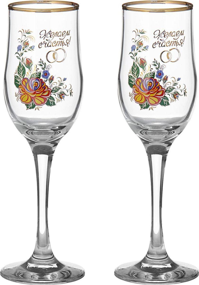 Набор бокалов для шампанского Декостек Свадебный. Желаем счастья!, 200 мл, 2 шт. 1599282 набор бокалов для бренди коралл 40600 q8105 400 анжела