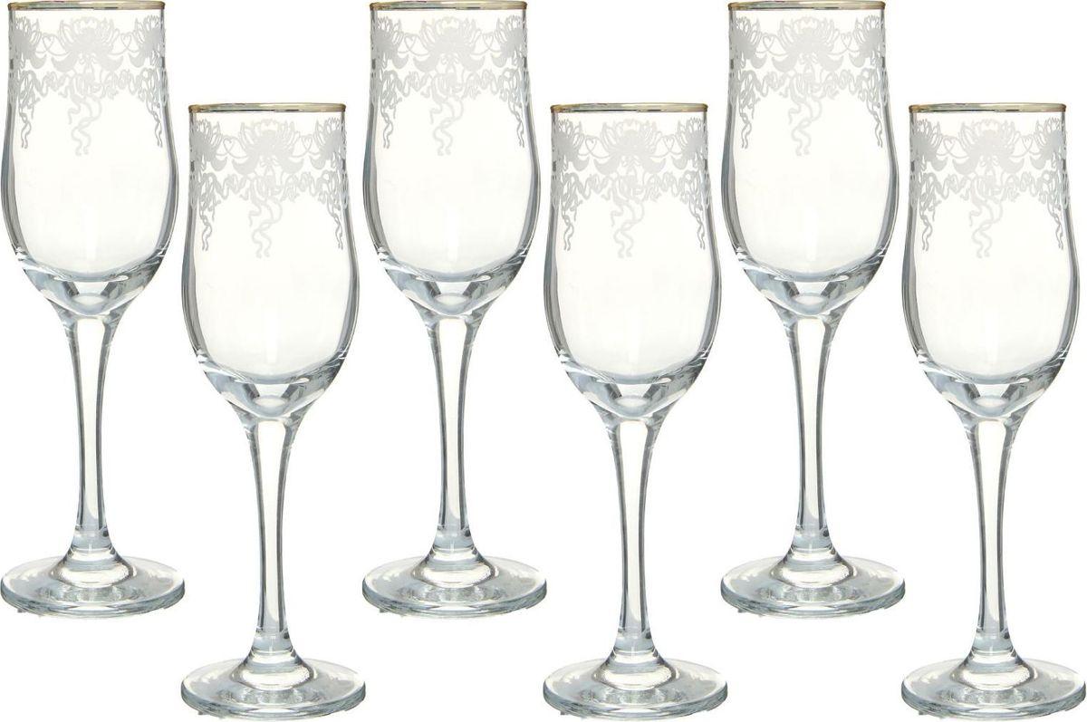 Набор бокалов для шампанского Декостек Лилия, 200 мл, 6 шт. 1599305 набор бокалов для бренди коралл 40600 q8105 400 анжела