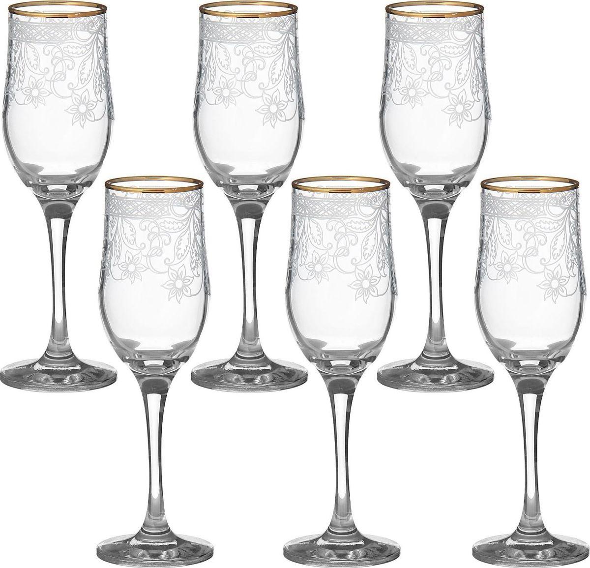 """Набор Декостек """"Акация"""" состоит из шести бокалов, выполненных из прочного высококачественного прозрачного стекла. Изделия декорированы золотистой каймой и оригинальной гравировкой. Бокалы предназначены для подачи шампанского. Они излучают приятный блеск и издают мелодичный звон. Бокалы сочетают в себе элегантный дизайн и функциональность. Благодаря такому набору пить напитки будет еще вкуснее.Набор бокалов Декостек """"Акация"""" прекрасно оформит праздничный стол и создаст приятную атмосферу за романтическим ужином. Такой набор также станет хорошим подарком к любому случаю. Не использовать в посудомоечной машине."""