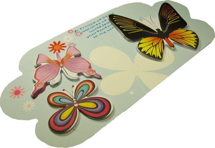 Карамба Набор стикеров 3 бабочки на голубом фоне 15 шт набор декоративных листочков scrapberry s цвет белый 20 шт