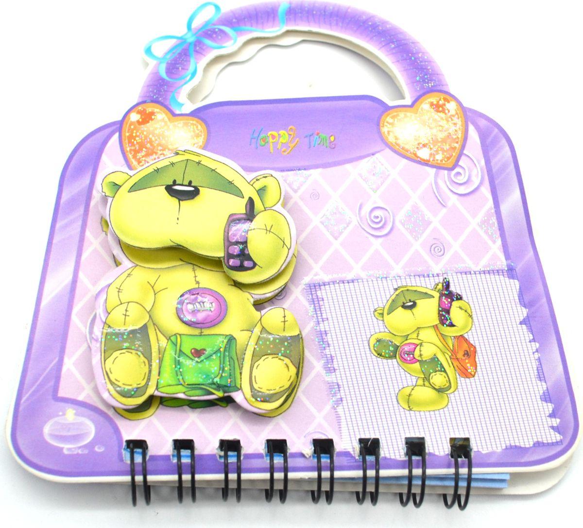 Карамба Блокнот Мишка на сумочке 50 листов в линейку цвет фиолетовый2432Блокнот Карамба Мишка на сумочке с объемным изображением мишки на лицевой стороне выполнен в виде сумочки с ручками. Блокнот содержит 50 листов в линейку. Листики окрашены в голубой и зеленый цвета. На каждом листочке изображен мишка.