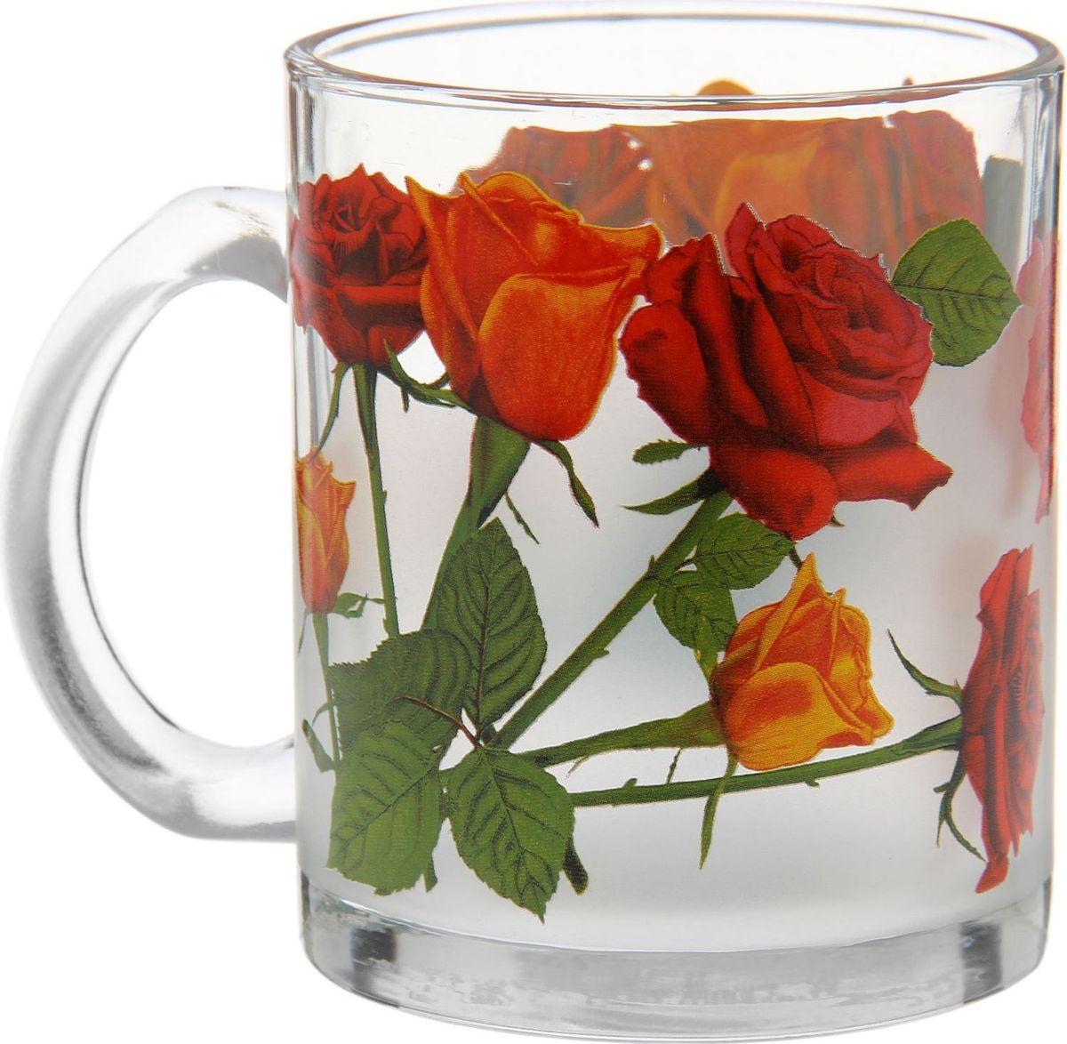 Кружка Декостек Роза, 300 мл1700863Кружка Декостек Роза, изготовленная из качественного стекла, оснащена удобной ручкой и дополнена оригинальным рисунком. От качества посуды зависит не только вкус еды, но и здоровье человека. Кружка соответствует российским стандартам качества. Любой хозяйке будет приятно держать её в руках. С такой посудой сервировка стола превратится в настоящий праздник. Объем: 300 мл.