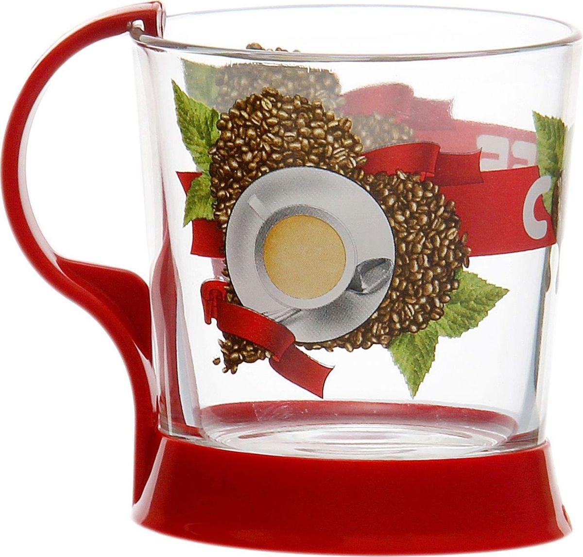 """Кружка Декостек """"Сoffee Hear"""" изготовленная из качественного стекла, оснащена удобной ручкой и оформлена ярким рисунком.   От качества посуды зависит не только вкус еды, но и здоровье человека. Кружка соответствует российским стандартам качества. Любой хозяйке будет приятно держать её в руках. С такой посудой сервировка стола превратится в настоящий праздник. Объем: 250 мл."""