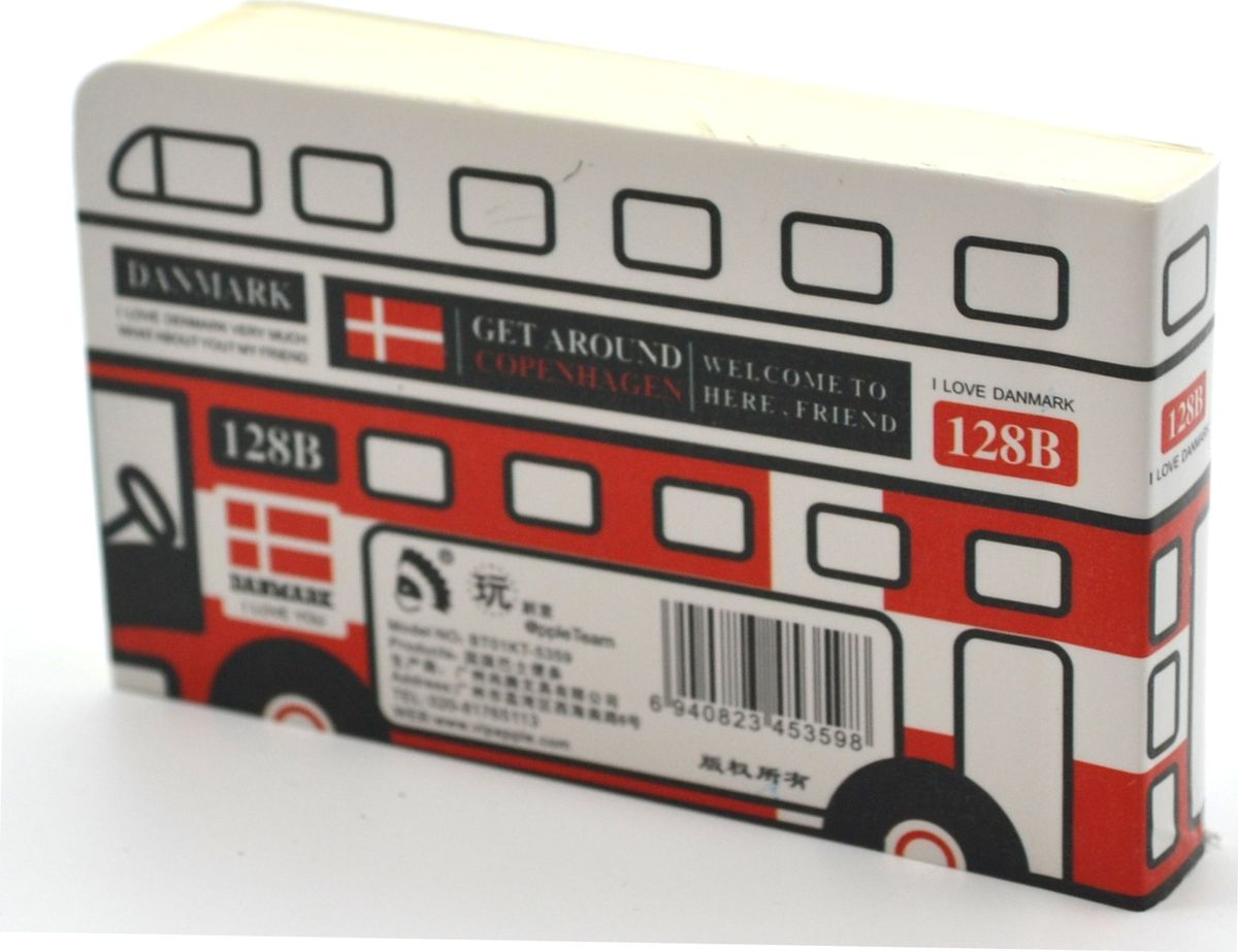 Карамба Блокнот Автобус Дания 128 листов3314Блокнот в виде Автобуса с расцветкой флага Дании - незаменимый атрибут современного человека, необходимый для рабочих и повседневных записей в офисе и дома. Блокнот содержит 128 листов.Блокнот станет достойным аксессуаром среди ваших канцелярских принадлежностей. Такой блокнот пригодится как для деловых людей, так и для любителей записывать свои мысли, писать мемуары или делать наброски новых стихотворений.