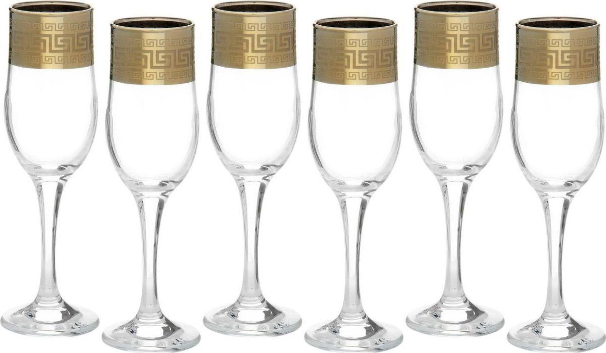 Набор бокалов для шампанского Декостек Греческий узор, 200 мл, 6 шт. 1781340 набор бокалов для бренди коралл 40600 q8105 400 анжела