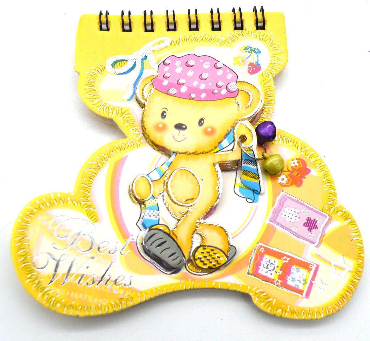 Карамба Блокнот Мишка с бубенчиками 48 листов в линейку цвет желтый 35573557Блокнот Карамба Мишка с бубенчикам на пружине вырублен по форме мишки с объемным изображением мишки с бубенчиками на обложке. Блокнот содержит 48 разлинованных листов в линейку с изображением мишки. Изделие имеет индивидуальную упаковку.