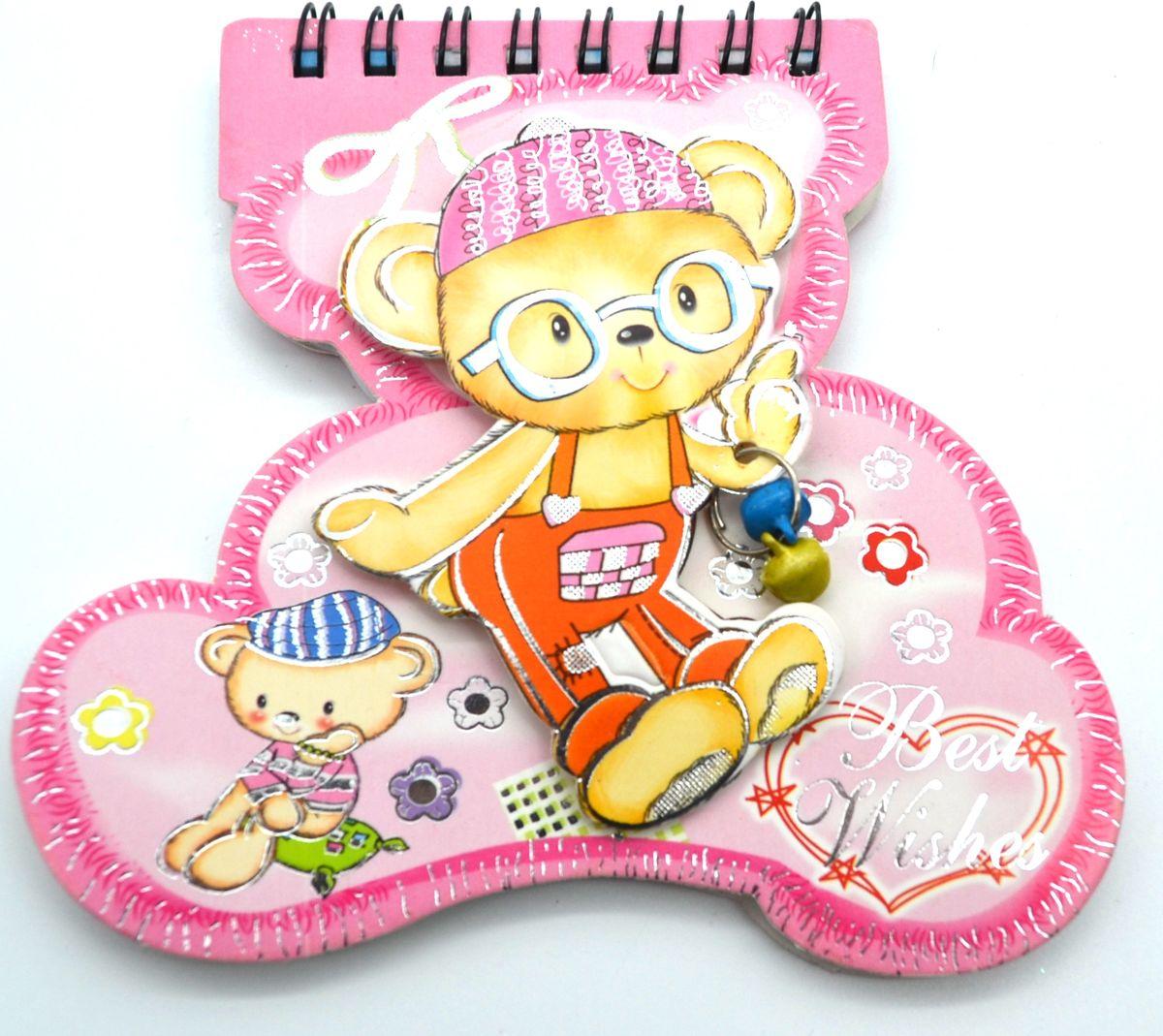 Карамба Блокнот Мишка с бубенчиками 48 листов в линейку цвет розовый 3564 карамба блокнот fruit цвет красный 144 листа