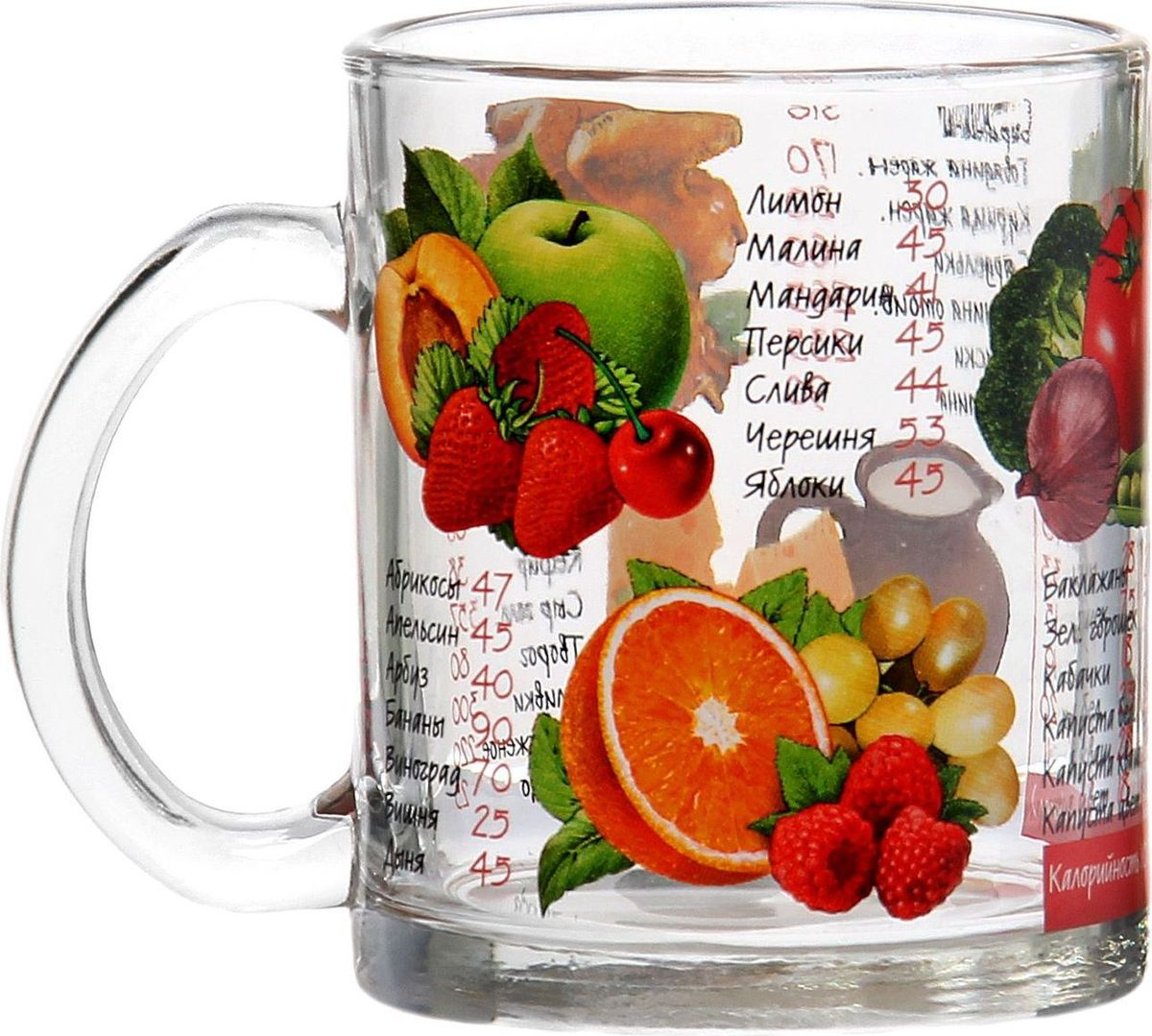 """Кружка Декостек """"Таблица калорий"""", изготовленная из качественного стекла, оснащена удобной ручкой и дополнена оригинальным рисунком.   От качества посуды зависит не только вкус еды, но и здоровье человека. Кружка соответствует российским стандартам качества. Любой хозяйке будет приятно держать её в руках. С такой посудой сервировка стола превратится в настоящий праздник. Объем: 300 мл."""