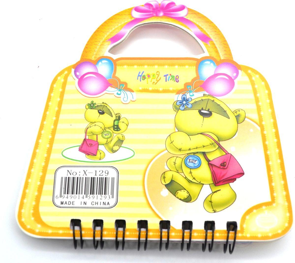 Карамба Блокнот Мишка на сумочке 50 листов в линейку цвет желтый3569Блокнот Карамба Мишка на сумочке с объемным изображением мишки на лицевой стороне выполнен в виде сумочки с ручками. Блокнот содержит 50 листов в линейку. Листики окрашены в голубой и зеленый цвета. На каждом листочке изображен мишка.