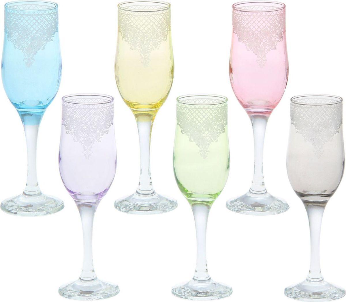 Набор бокалов для шампанского Декостек Крокус, 200 мл, 6 шт. 1919595 набор бокалов для бренди коралл 40600 q8105 400 анжела