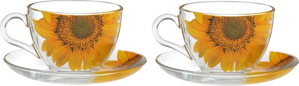 Набор чайный Декостек Живая природа. Подсолнух, 4 предмета. 1919596 набор чайный дуэт живая природа ромашка 2 4 200мл стекло