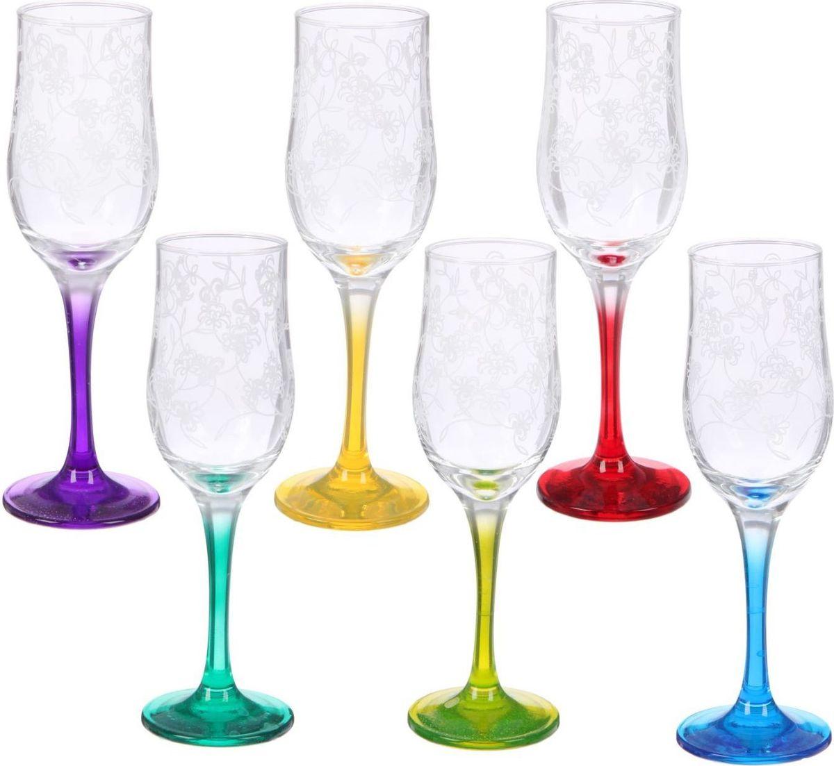 """Набор бокалов для шампанского Декостек """"Рrimavera"""" пригодится для любого торжества.  В наборе 6 стеклянных бокалов. Бокалы с разноцветными ножками имеют интересный дизайн. Любой хозяйке будет приятно держать его в руках.  Такой набор бокалов станет прекрасным подарком на любой праздник."""