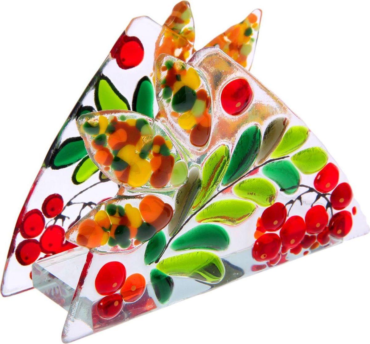 Салфетница декоративная Декостек Рябинка, 11 х 10 см. 22617632261763Салфетница изготовлена из цветного стекла, полученного методом фьюзинга — сплавлением материала при температуре более 800 градусов. Технология позволяет создавать витражи и различные вещи удивительной красоты. Этот предмет сервировки сделает трапезу запоминающейся и подарит гостям ощущение заботы об их комфорте.