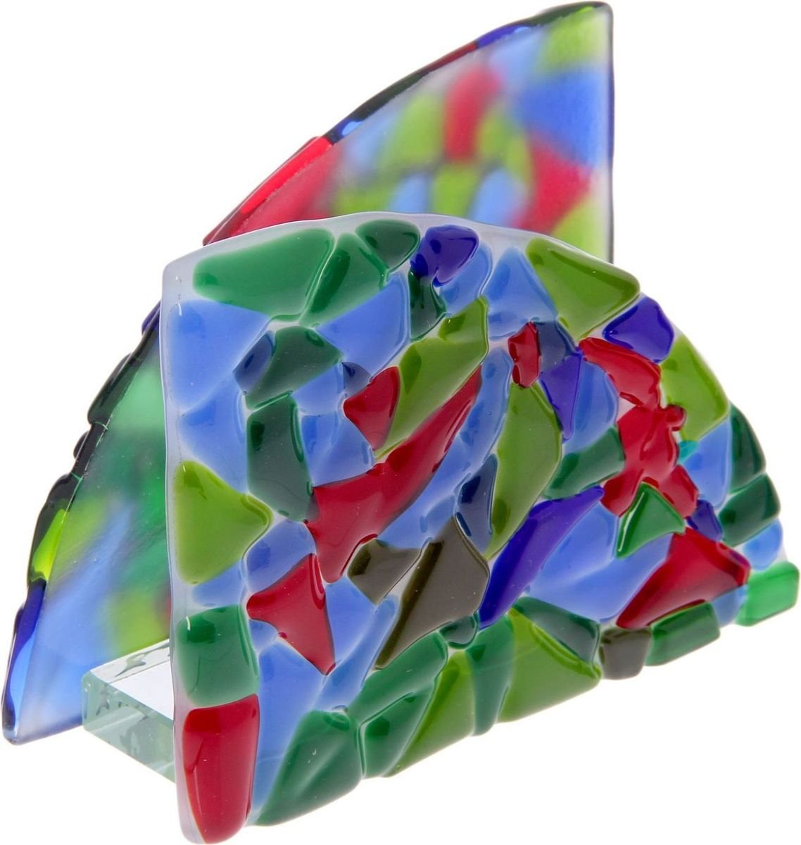 Салфетница декоративная Декостек Мозайка, 11 х 10 см. 22617652261765Салфетница изготовлена из цветного стекла, полученного методом фьюзинга — сплавлением материала при температуре более 800 градусов. Технология позволяет создавать витражи и различные вещи удивительной красоты. Этот предмет сервировки сделает трапезу запоминающейся и подарит гостям ощущение заботы об их комфорте.